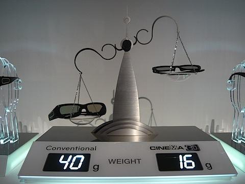 3Dメガネの重量の違い