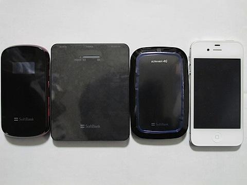 101SI、007Z、予備バッテリー、iPhone4Sとの大きさ比較