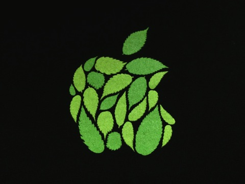 ケヤキの葉っぱでデザインされたアップルロゴ